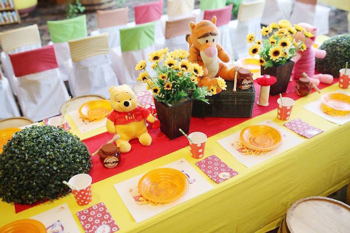 Guest Tabletop from a Winnie the Pooh Themed Birthday Party via Kara's Party Ideas! KarasPartyIdeas.com (22)