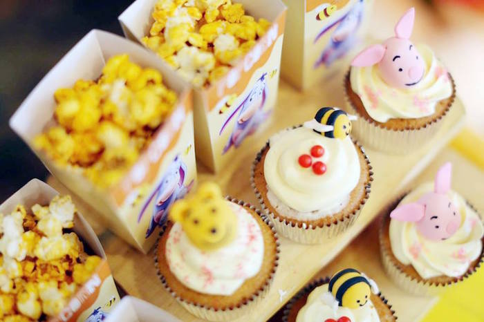 Cupcakes + Popcorn from a Winnie the Pooh Themed Birthday Party via Kara's Party Ideas! KarasPartyIdeas.com (20)