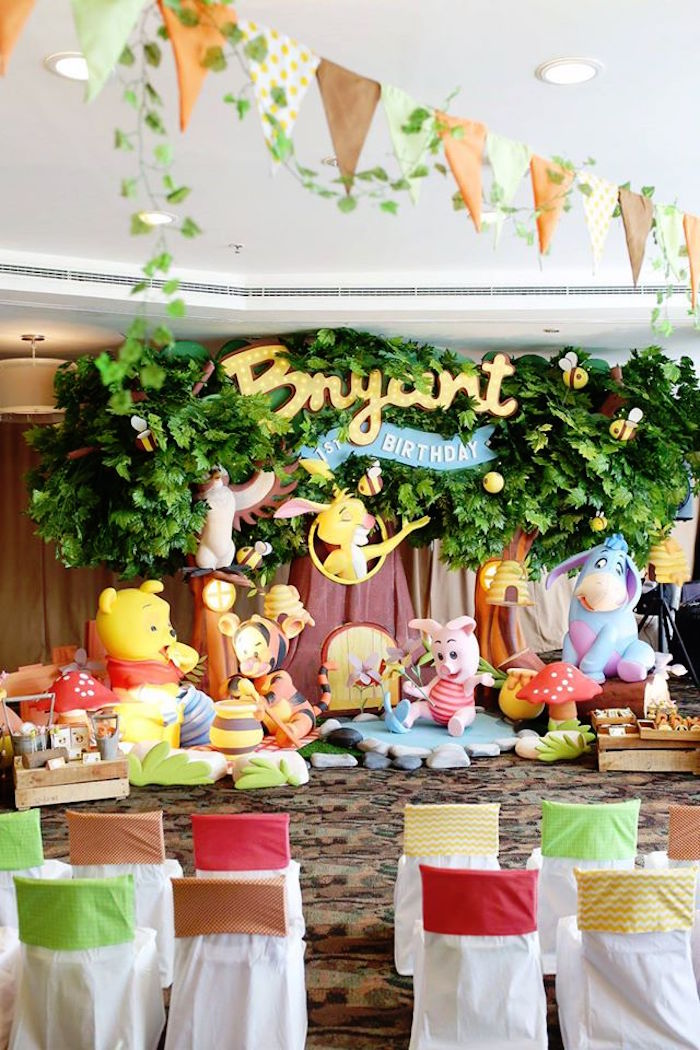 Dinner Birthday Party Ideas Part - 38: Party Backdrop + Sweet Display From A Winnie The Pooh Themed Birthday Party  Via Karau0027s Party