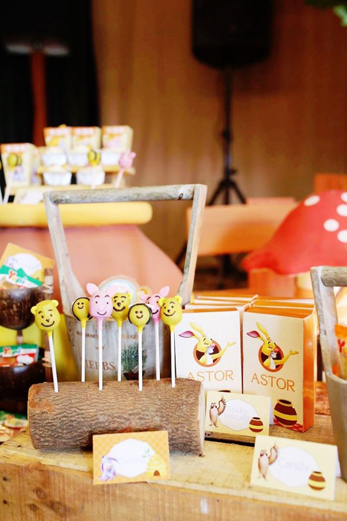 Sweet and Snack Display from a Winnie the Pooh Themed Birthday Party via Kara's Party Ideas! KarasPartyIdeas.com (16)