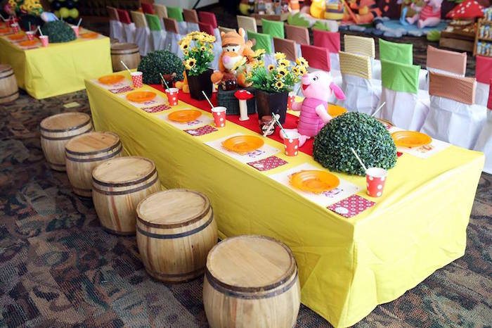 Dining + Guest Table from a Winnie the Pooh Themed Birthday Party via Kara's Party Ideas! KarasPartyIdeas.com (8)