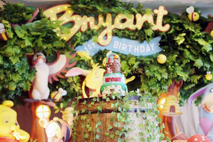 Cake from a Winnie the Pooh Themed Birthday Party via Kara's Party Ideas! KarasPartyIdeas.com (5)