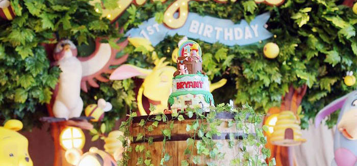 Cake Display from a Winnie the Pooh Themed Birthday Party via Kara's Party Ideas! KarasPartyIdeas.com (1)