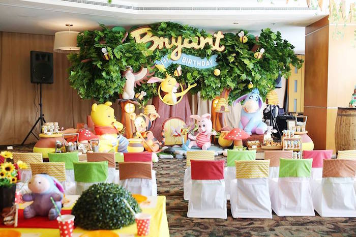 Party Setup + Backdrop from a Winnie the Pooh Themed Birthday Party via  Kara's Party Ideas