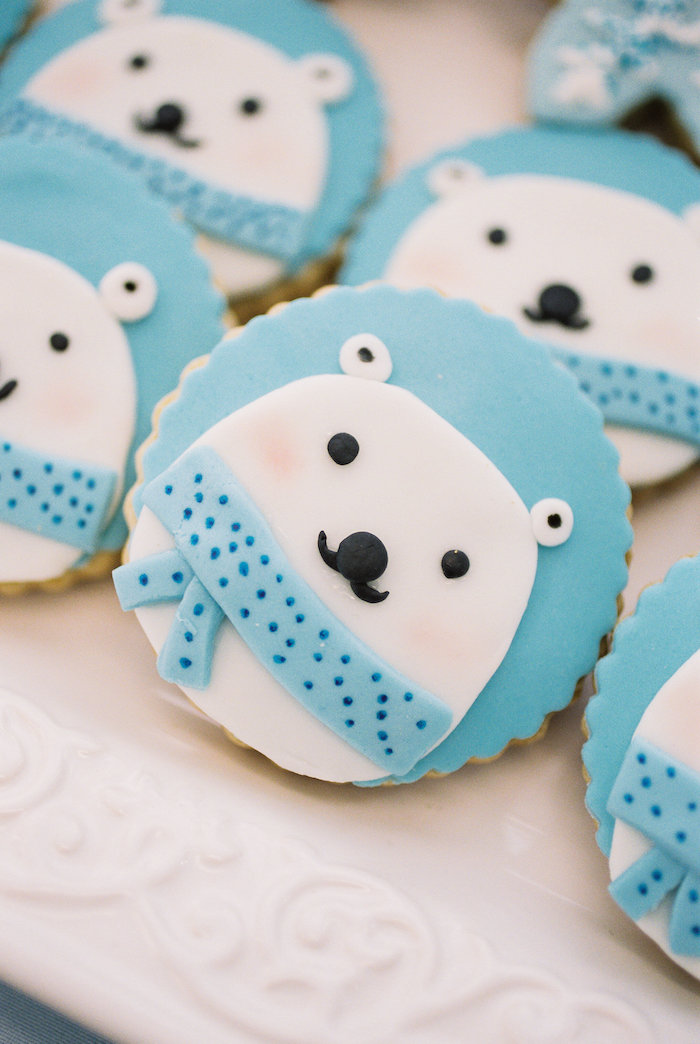 Polar Bear Cookies from a Winter ONEderland Birthday Party via Kara's Party Ideas KarasPartyIdeas.com (24)