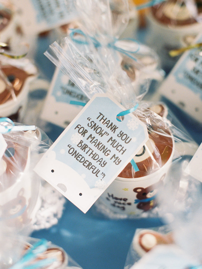 Favors from a Winter ONEderland Birthday Party via Kara's Party Ideas KarasPartyIdeas.com (5)
