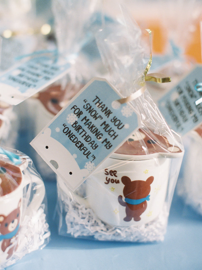 Favors from a Winter ONEderland Birthday Party via Kara's Party Ideas KarasPartyIdeas.com (4)