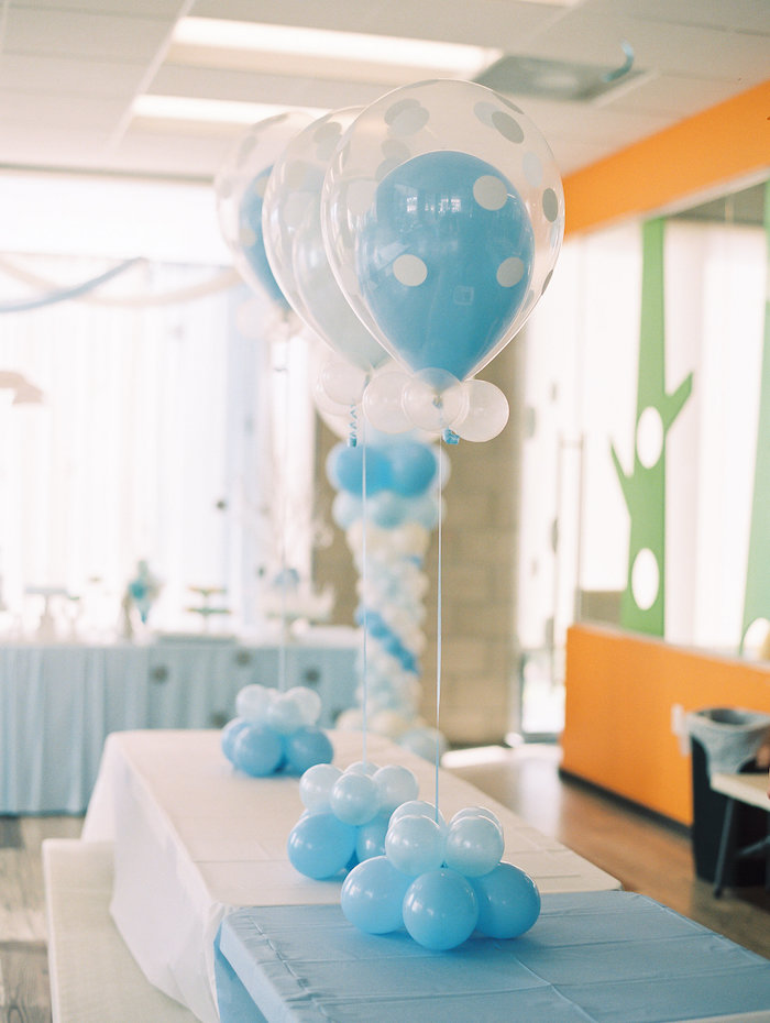 Guest Table + Balloon Centerpieces from a Winter ONEderland Birthday Party via Kara's Party Ideas KarasPartyIdeas.com (32)