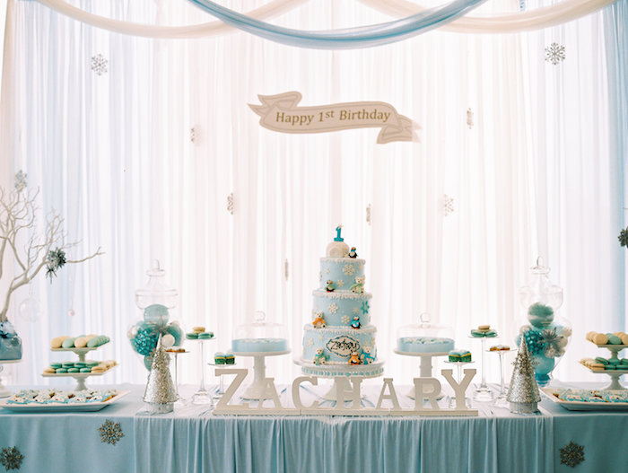 Dessert Table from a Winter ONEderland Birthday Party via Kara's Party Ideas KarasPartyIdeas.com (30)