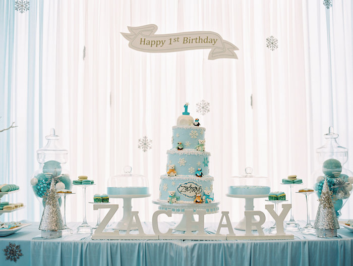 Sweet Table from a Winter ONEderland Birthday Party via Kara's Party Ideas KarasPartyIdeas.com (29)