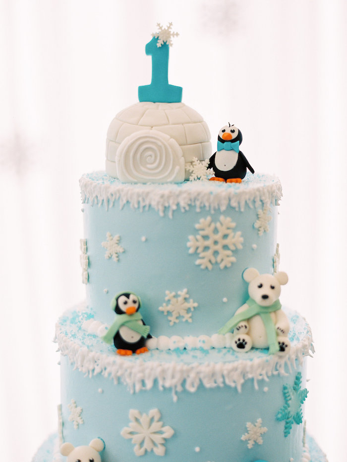 Cake Detail from a Winter ONEderland Birthday Party via Kara's Party Ideas KarasPartyIdeas.com (27)