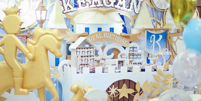 Party Display from a Royal Prince Birthday Party via Kara's Party Ideas | KarasPartyIdeas.com (2)