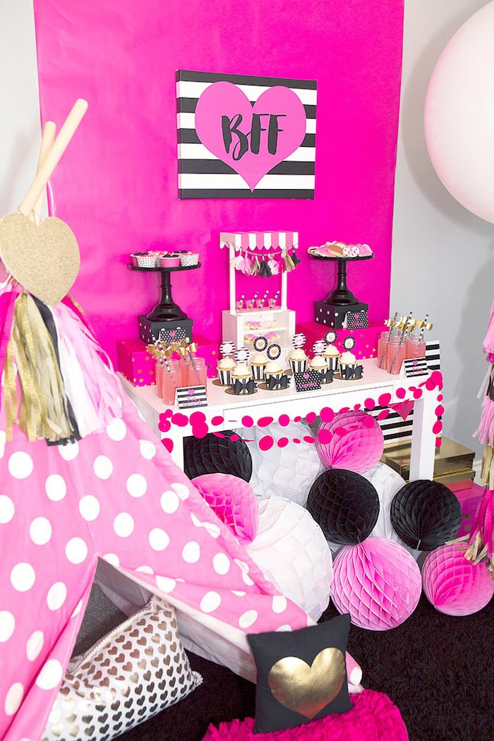 BFF Dessert Table from an American Girl Doll BFF Party: Inspired by Kate Spade via Kara's Party Ideas | KarasPartyIdeas.com (15)