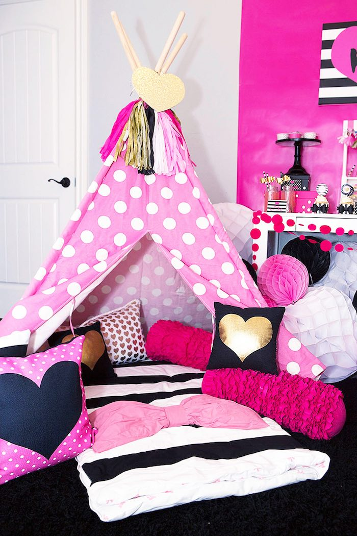 Teepee Lounge from an American Girl Doll BFF Party: Inspired by Kate Spade via Kara's Party Ideas | KarasPartyIdeas.com (10)