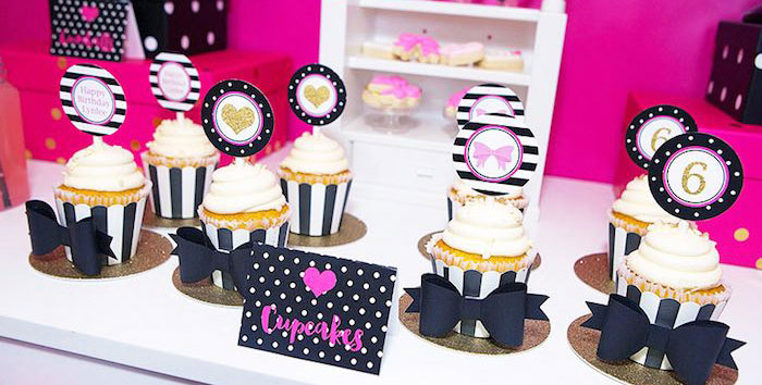 Cupcakes from an American Girl Doll BFF Party: Inspired by Kate Spade via Kara's Party Ideas | KarasPartyIdeas.com (1)