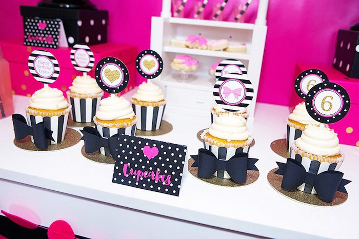 Cupcakes from an American Girl Doll BFF Party: Inspired by Kate Spade via Kara's Party Ideas | KarasPartyIdeas.com (21)