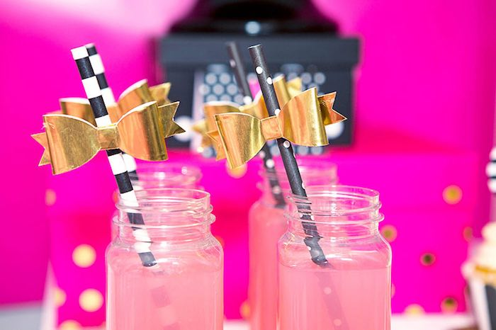 Paper Straws adorned with Gold Bow Toppers from an American Girl Doll BFF Party: Inspired by Kate Spade via Kara's Party Ideas | KarasPartyIdeas.com (19)