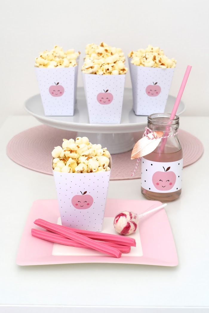 Snack Plate + Popcorn Favor Boxes from an Apple of my Eye Themed Birthday Party via Kara's Party Ideas |KarasPartyIdeas.com (21)