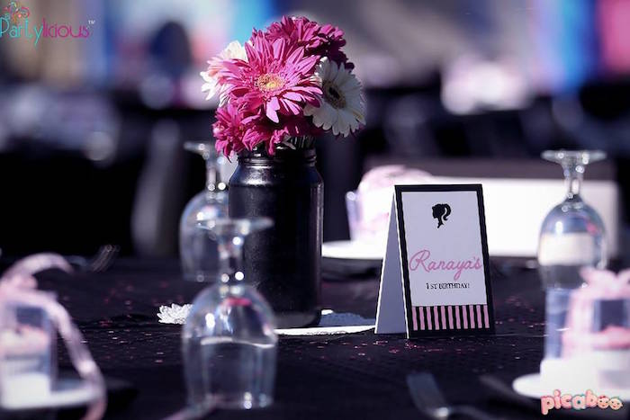 Guest Table Details from a Barbie Fashion Birthday Party via Kara's Party Ideas |The Place for All Things Party! KarasPartyIdeas.com (30)