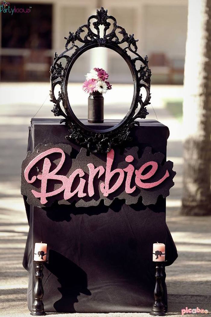 Entrance Table + Decor to a Barbie Fashion Birthday Party via Kara's Party Ideas |The Place for All Things Party! KarasPartyIdeas.com (9)
