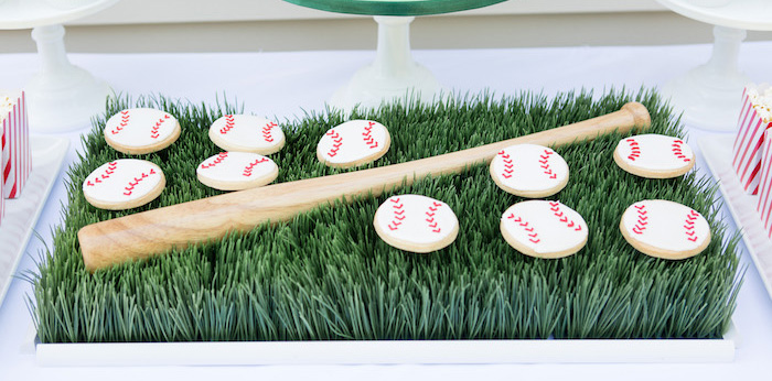 Baseball Cookies from a Baseball Birthday Party via Kara's Party Ideas | KarasPartyIdeas.com (1)