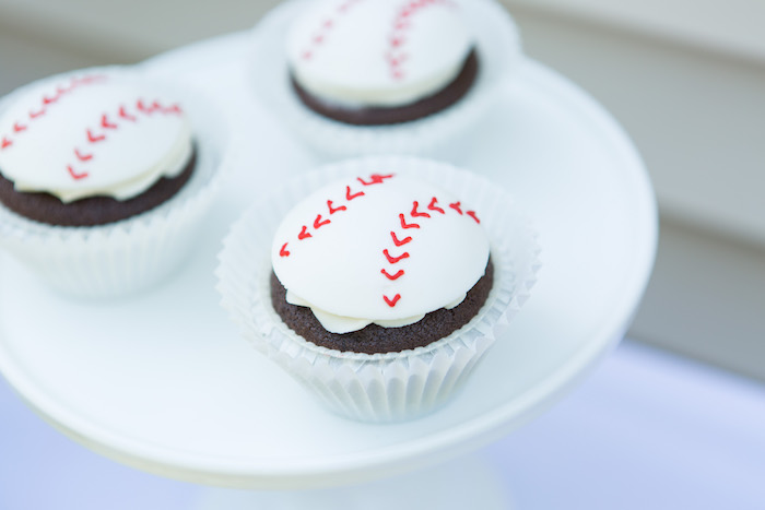 Baseball Cupcakes from a Baseball Birthday Party via Kara's Party Ideas   KarasPartyIdeas.com (15)