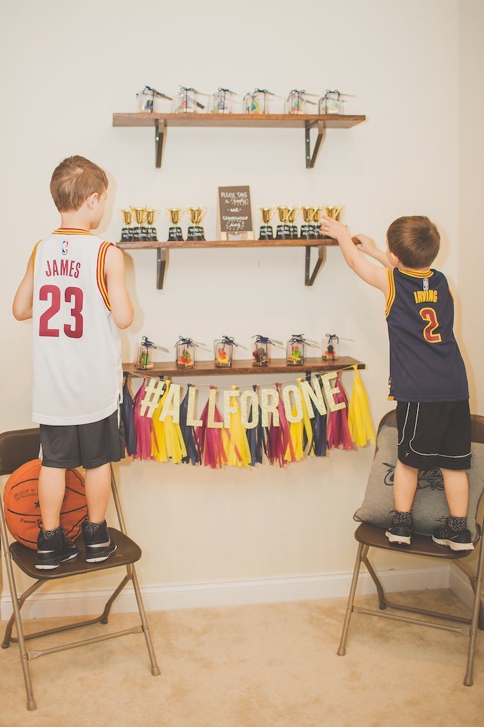 Party Champs grabbing their Trophies from a Grabbing Trophies from a Basketball Birthday Party via Kara's Party Ideas KarasPartyIdeas.com (26)