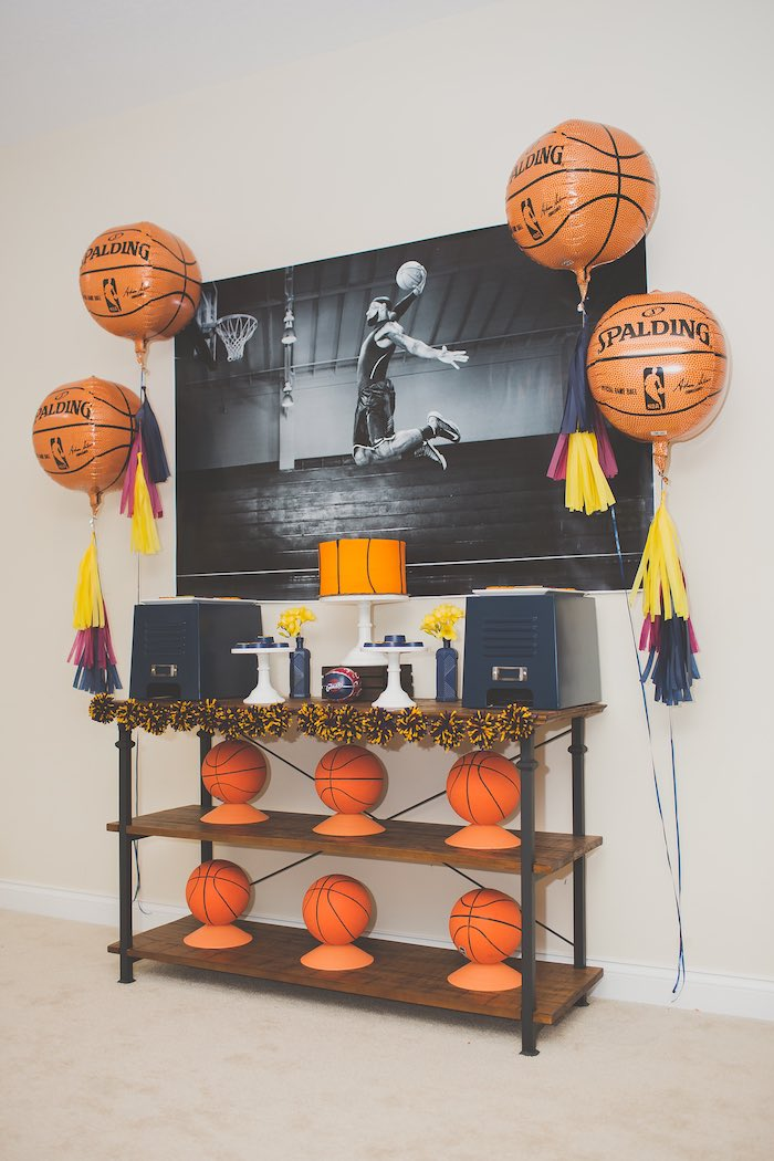 Head Table + Sweet Table Setup from a Basketball Birthday Party via Kara's Party Ideas KarasPartyIdeas.com (18)