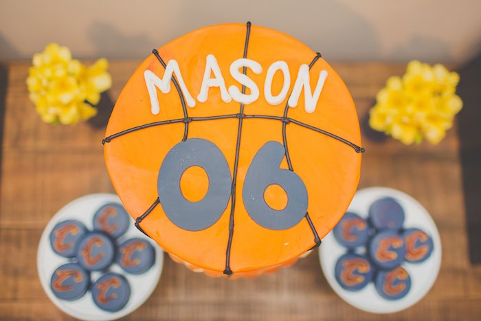 Top of the Birthday Cake from a Basketball Birthday Party via Kara's Party Ideas KarasPartyIdeas.com (15)