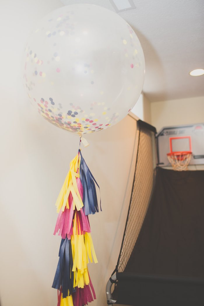 Giant Balloon + Tassel Streamer from a Basketball Birthday Party via Kara's Party Ideas KarasPartyIdeas.com (10)