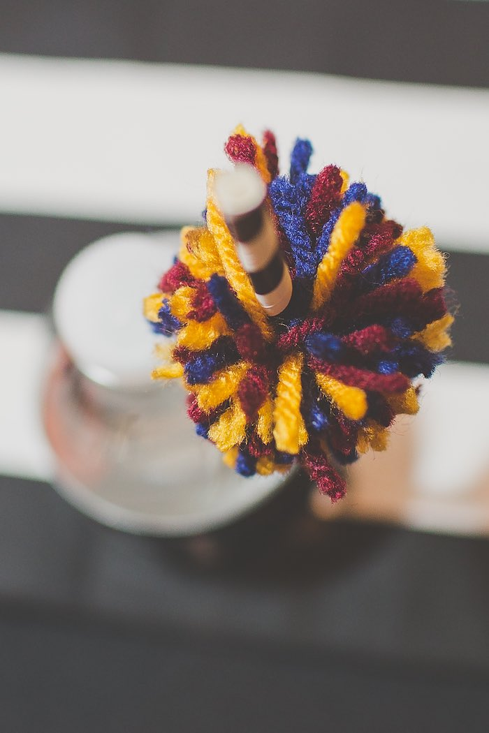 Yarn Pom Pom placed on a Drink Straw from a Basketball Birthday Party via Kara's Party Ideas KarasPartyIdeas.com (8)