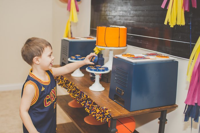 Basketball Player picking out some sweets from a Basketball Birthday Party via Kara's Party Ideas KarasPartyIdeas.com (34)