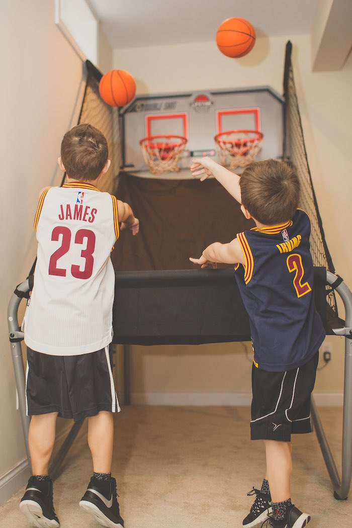 Kids Shooting Hoops at a Basketball Birthday Party via Kara's Party Ideas KarasPartyIdeas.com (32)