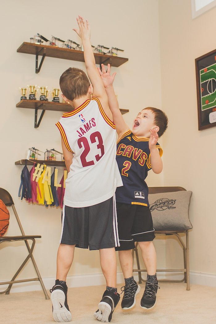 Kids Playing B-ball at a Basketball Birthday Party via Kara's Party Ideas KarasPartyIdeas.com (29)