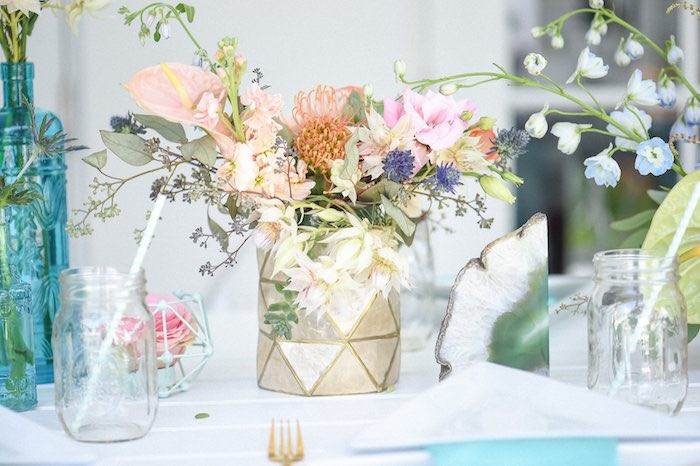Dining Table Decor From A Floral Arrangement Boho Chic Baby Shower Via Karas Party