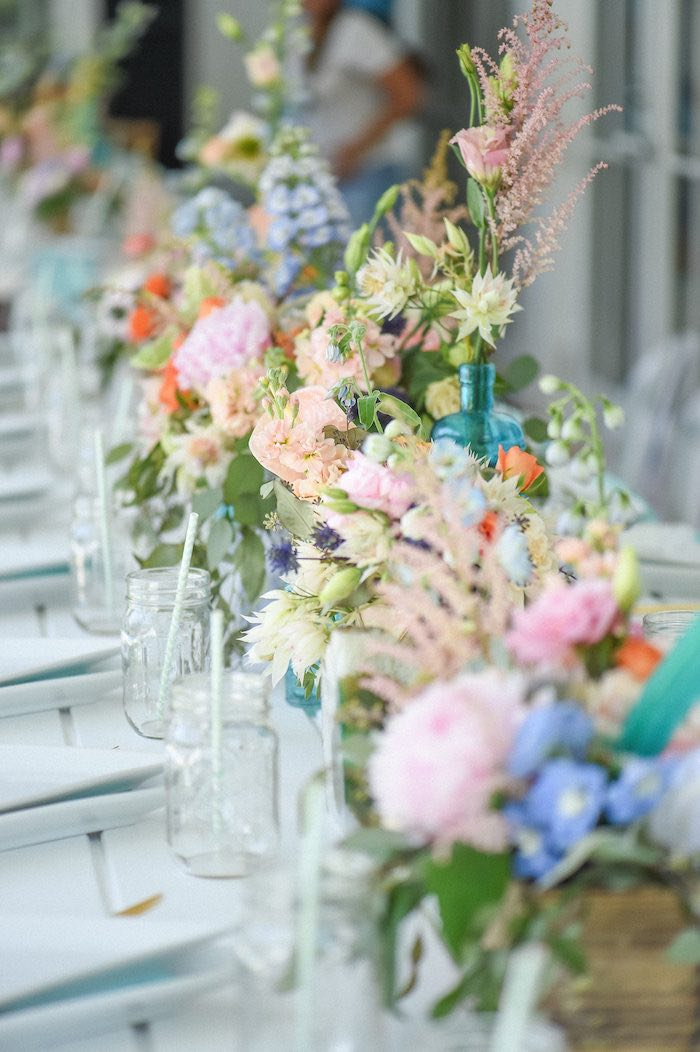 Floral Lined Dining Tablescape from a Boho Chic Baby Shower via Kara's Party Ideas KarasPartyIdeas.com (35)