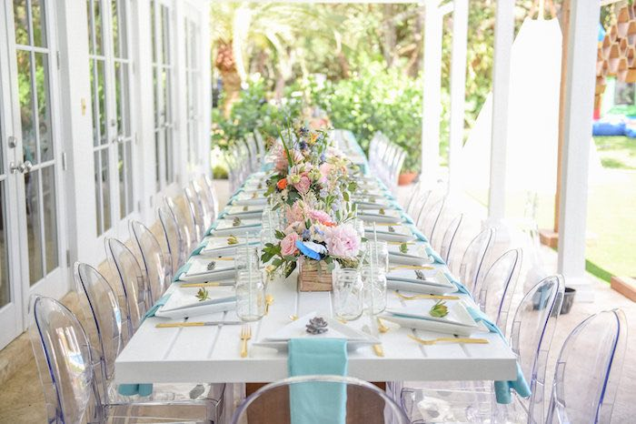 dining tablescape from a boho chic baby shower via karas party ideas karaspartyideascom - Baby Shower Tablescapes Ideas