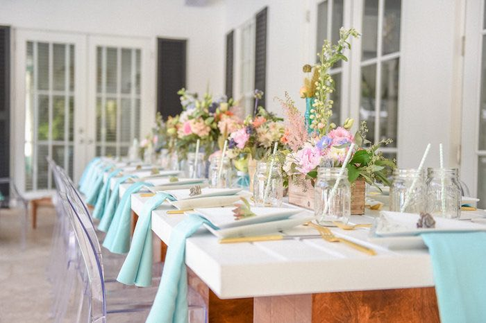 Dining Tablescape From A Boho Chic Baby Shower Via Karas Party Ideas KarasPartyIdeas