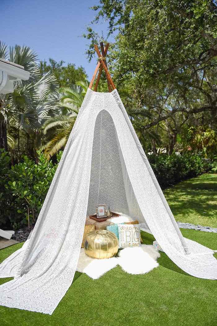 fbb823ee8ad Teepee Lounge from a Boho Chic Baby Shower via Kara s Party Ideas  KarasPartyIdeas.com (