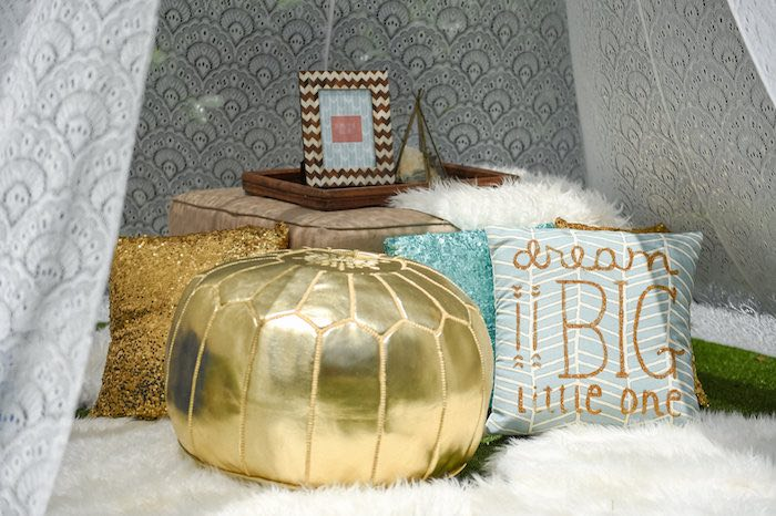 Teepee Decor + Pillows from a Boho Chic Baby Shower via Kara's Party Ideas KarasPartyIdeas.com (8)