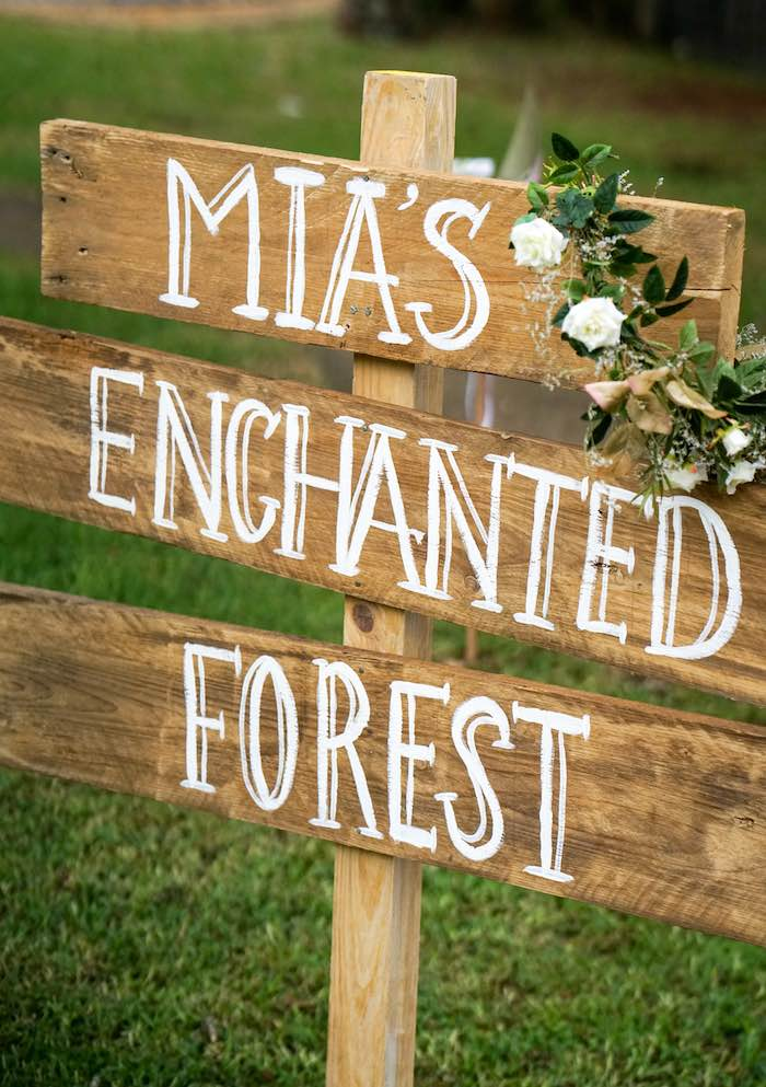 Woden Sign from a Boho Enchanted Forest Birthday Party via Kara's Party Ideas | KarasPartyIdeas.com (4)