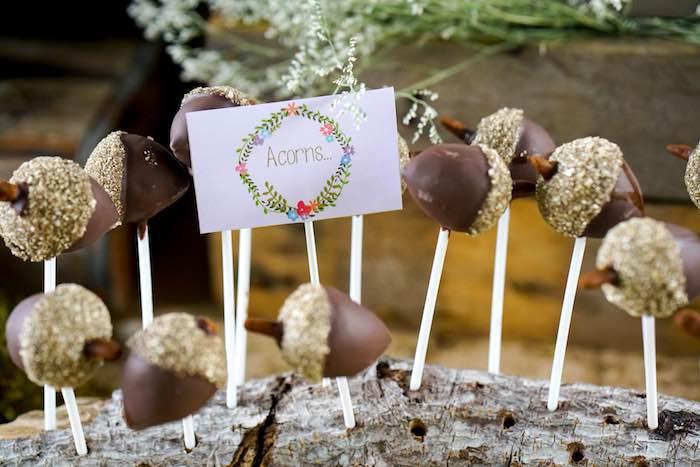 Acorn Pops from a Boho Enchanted Forest Birthday Party via Kara's Party Ideas | KarasPartyIdeas.com (18)