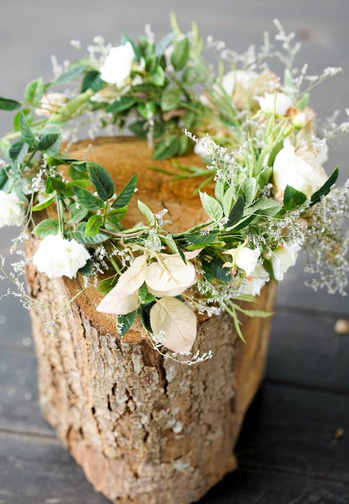 Floral Crown from a Boho Enchanted Forest Birthday Party via Kara's Party Ideas | KarasPartyIdeas.com (13)