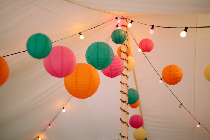 Paper Lanterns hanging from the ceiling of a party tent from a Bollywood Black Tie Birthday Party via Kara's Party Ideas KarasPartyIdeas.com (16)