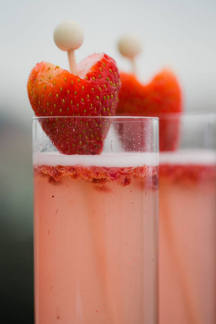 Heart-shaped Strawberry Drink Stirrers from a Bridesmaid Reveal Party via Kara's Party Ideas | KarasPartyIdeas.com (13)