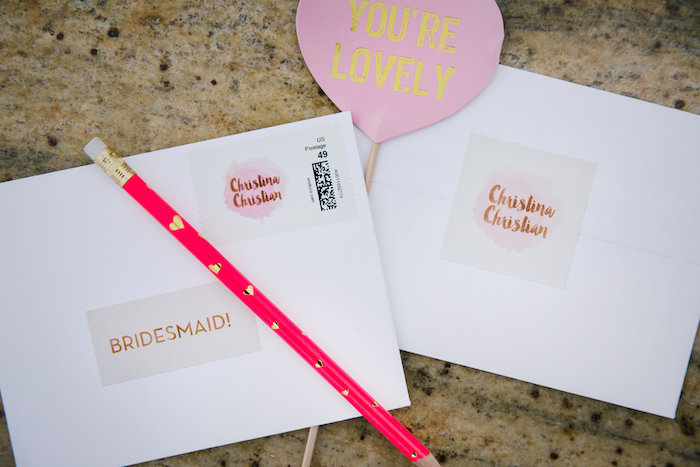 Invitation + Stationery Letter Sets and Coordinating Heart Pencil from a Bridesmaid Reveal Party via Kara's Party Ideas | KarasPartyIdeas.com (25)