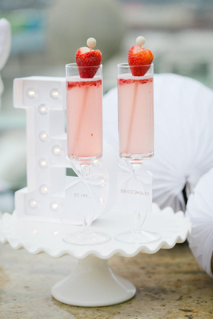Drinks from a Bridesmaid Reveal Party via Kara's Party Ideas   KarasPartyIdeas.com (4)