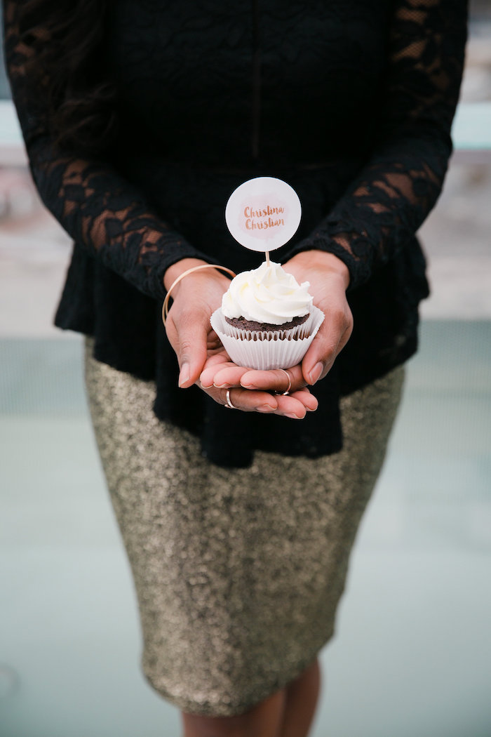 Cupcake from a Bridesmaid Reveal Party via Kara's Party Ideas | KarasPartyIdeas.com (3)