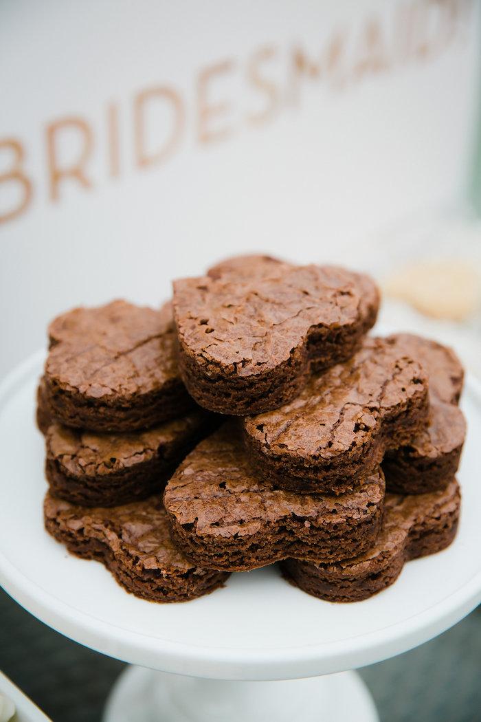 Heart-shaped Brownies from a Bridesmaid Reveal Party via Kara's Party Ideas   KarasPartyIdeas.com (17)