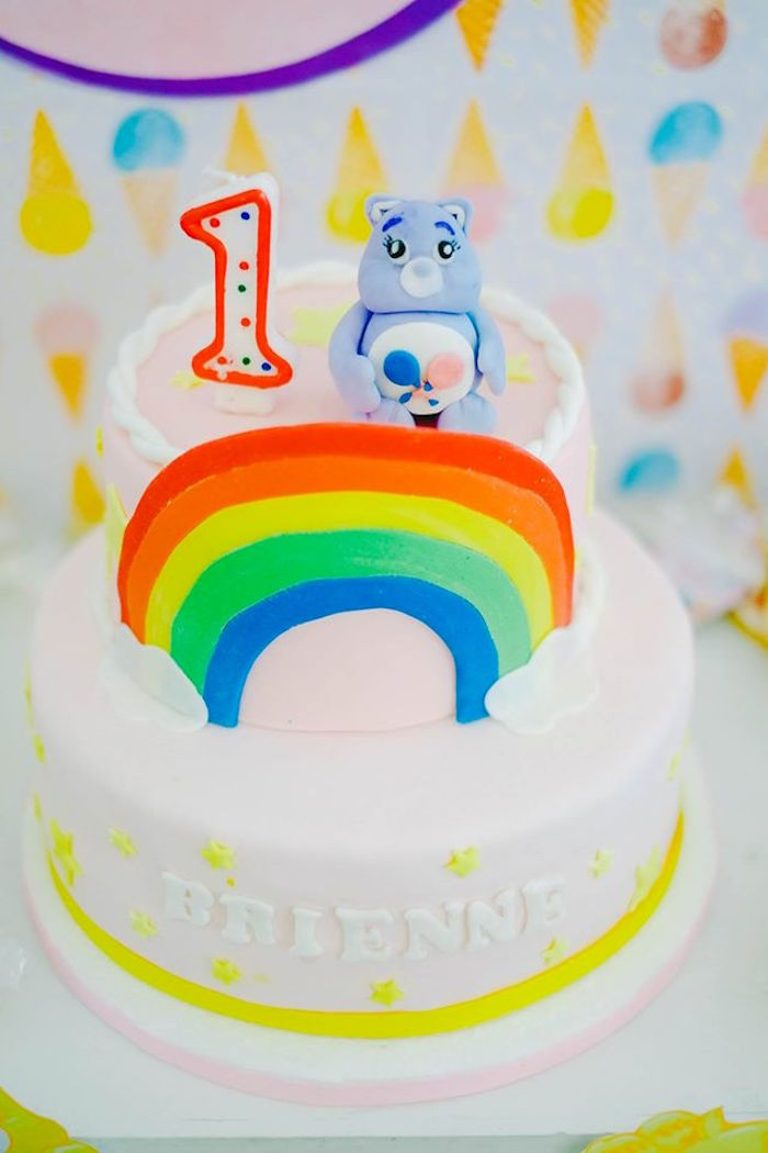 Cake from a Care Bears Themed Birthday Party via Kara's Party Ideas KarasPartyIdeas.com (33)